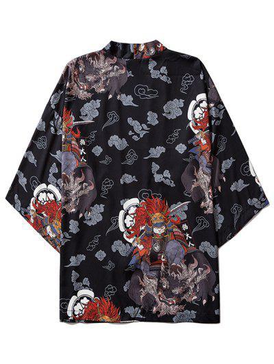Open Front Samurai Cat Graphic Kimono Cardigan - Black M