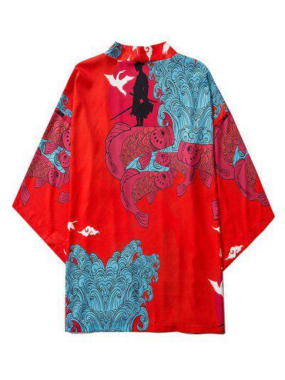 Koi Fish Waves Samurai Open Front Kimono Cardigan - Ruby Red M