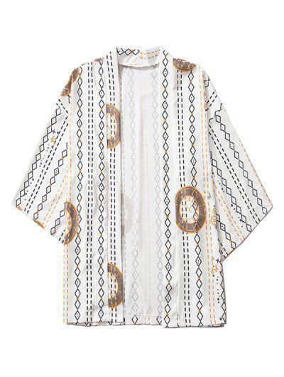 Open Front Clock Geometric Print Kimono Cardigan - White 2xl