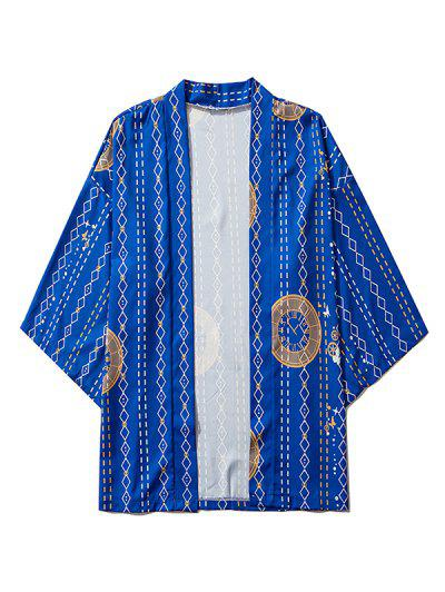 Open Front Clock Geometric Print Kimono Cardigan - Cobalt Blue Xl
