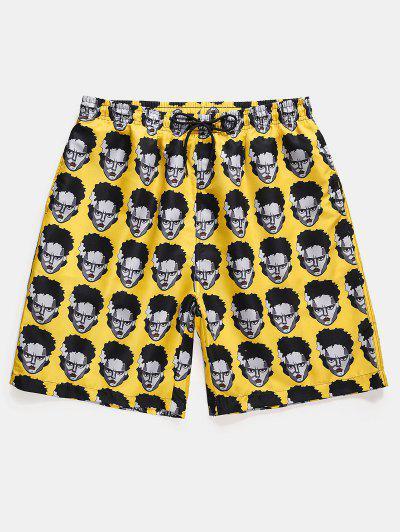 Figure Head Pattern Elastic Waist Shorts - Sun Yellow 2xl