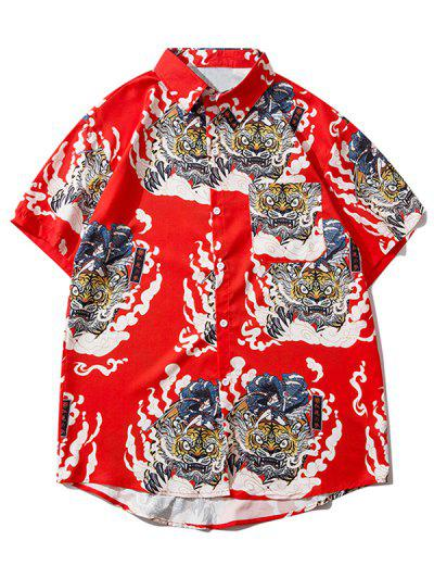 Geisha Samurai Tiger Print Vacation Shirt - Ruby Red Xl