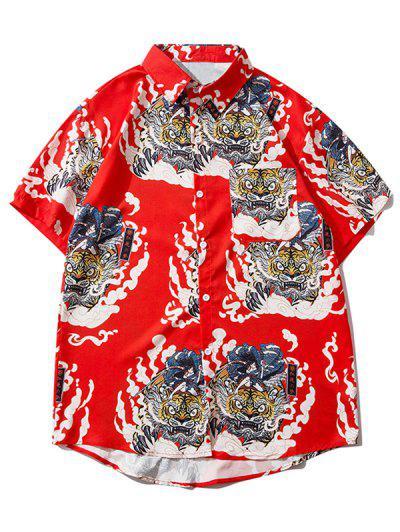 Geisha Samurai Tiger Print Vacation Shirt - Ruby Red L