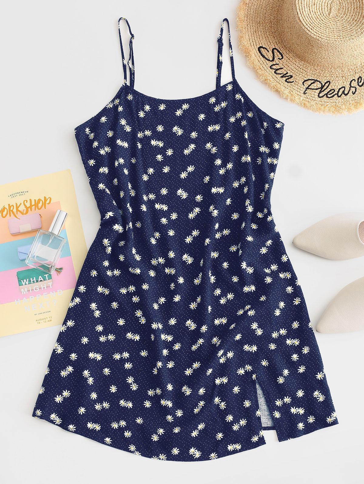 ZAFUL Daisy Floral Slit Cami Mini Dress