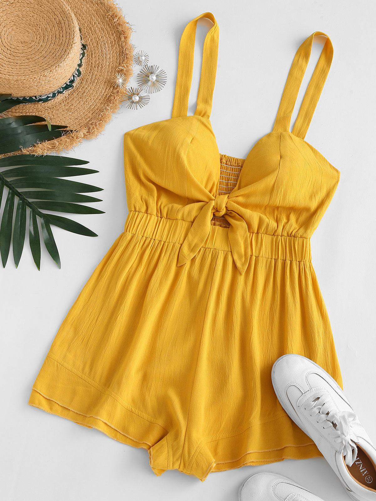 ZAFUL Tie Front Cut Out Smocked Back Romper