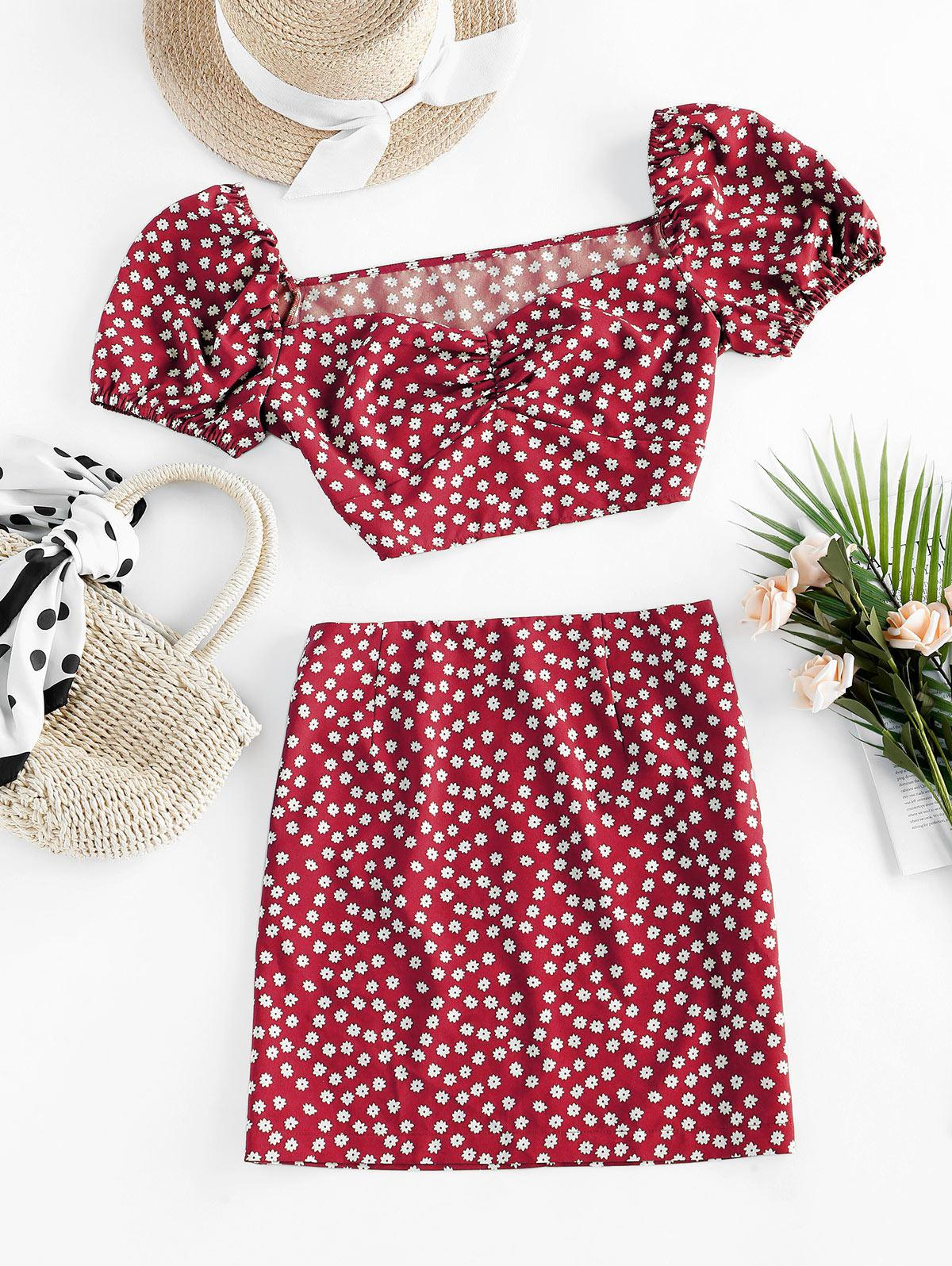 ZAFUL Ditsy Floral Puff Sleeve Ruched Two Piece Set