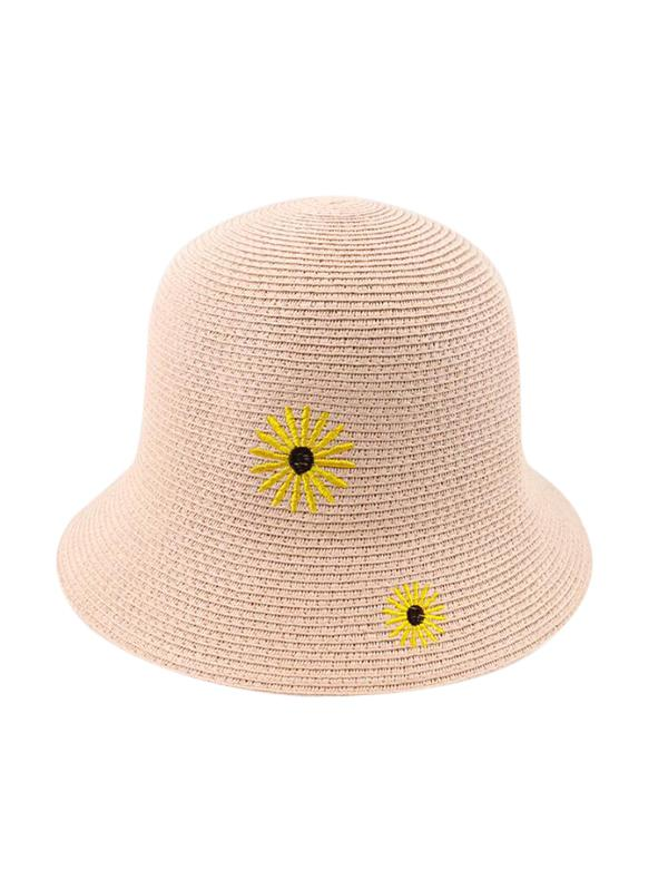 Beach Daisy Embroidery Straw Hat