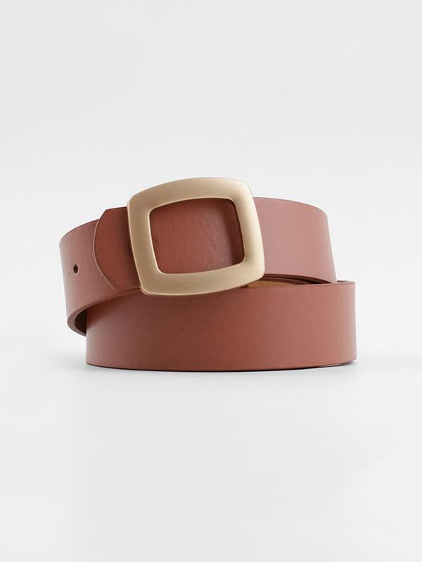 Hollow Square Buckle Wide Belt