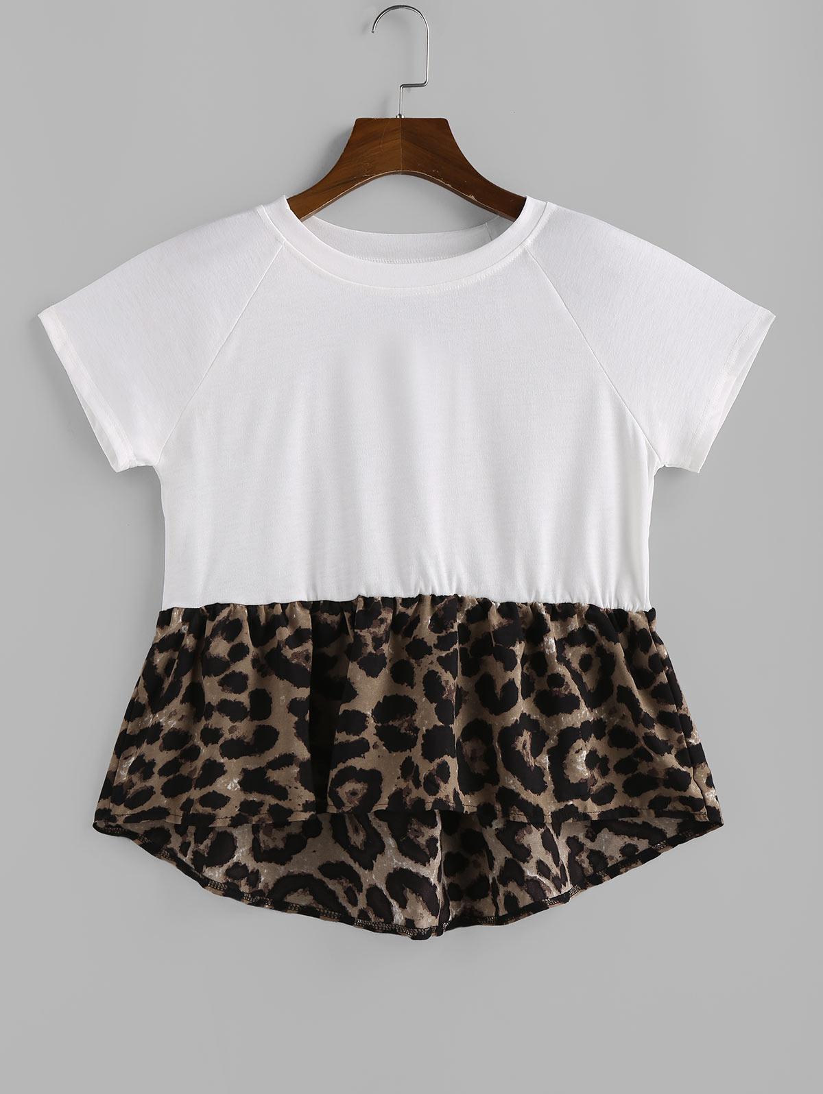 Raglan Sleeve Leopard Print Hem Extender T Shirt