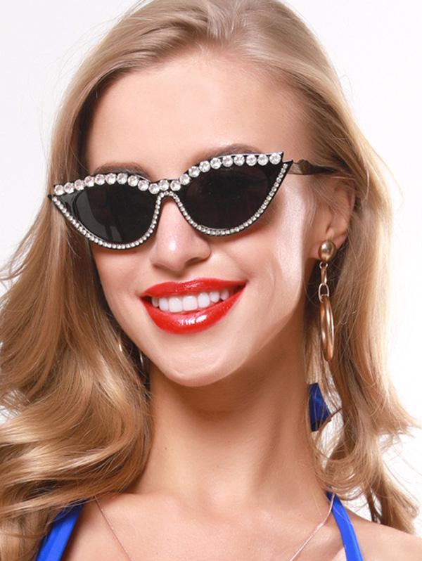 Rhinestone Catty Eye Sunglasses
