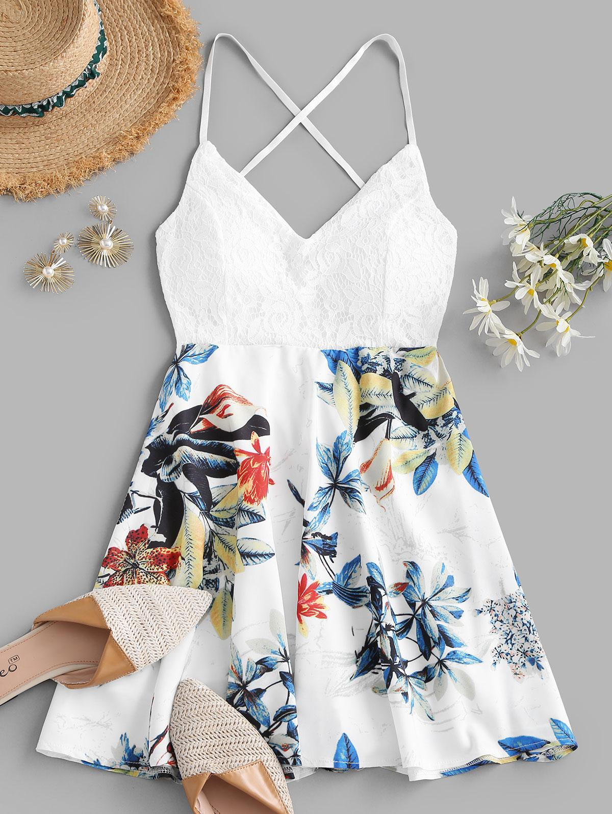 Flower Lace Panel Padded Criss Cross Cami Dress