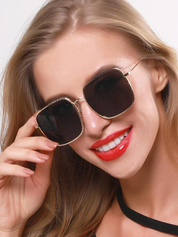 Oversized Square Metal Engraved Sunglasses