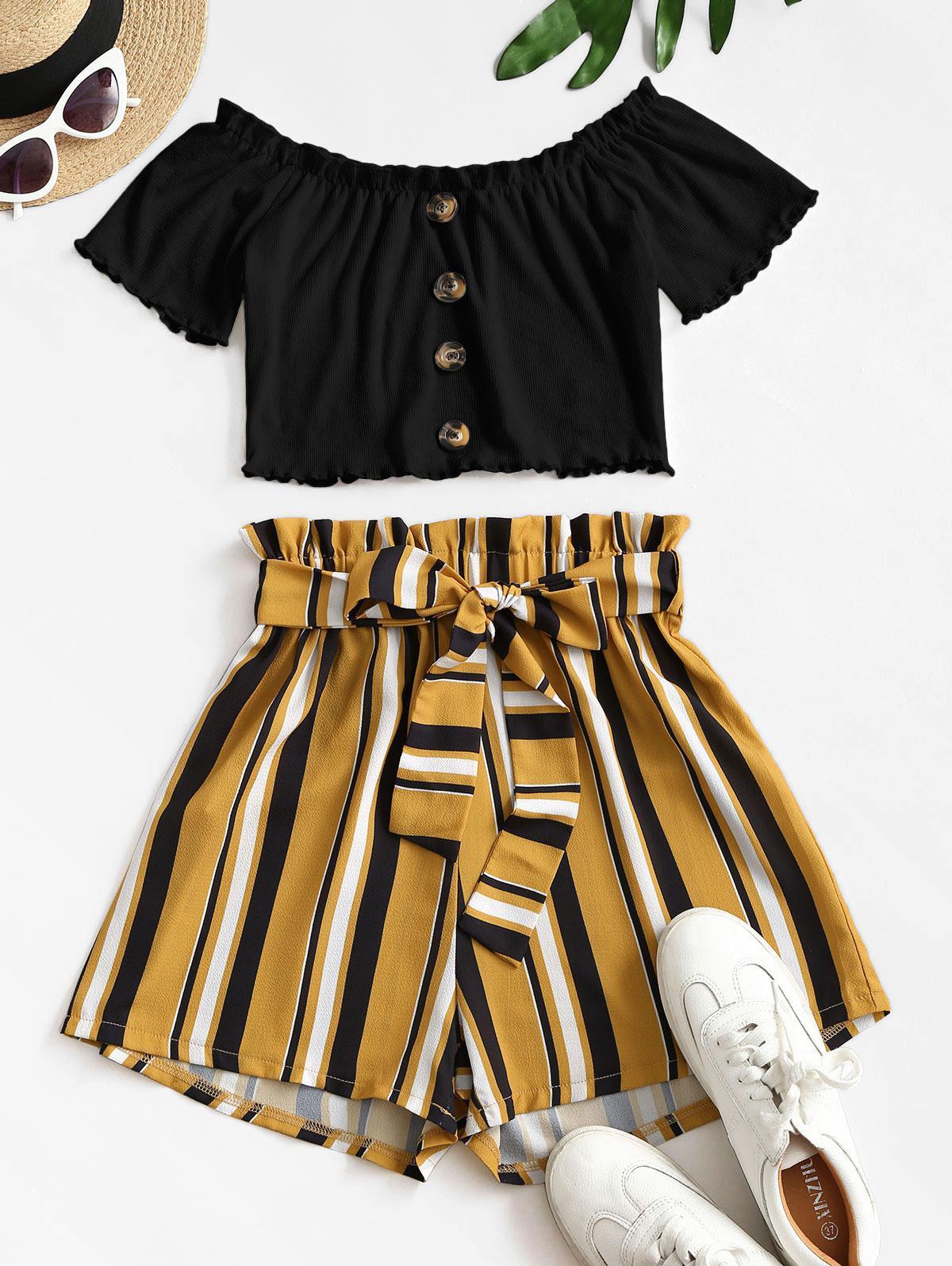 Ribbed Off Shoulder Stripes Paperbag Shorts Set