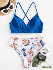 ZAFUL Damen Crisscross Knoten Bikini Set Floral gestreifter Tankini Badeanzug
