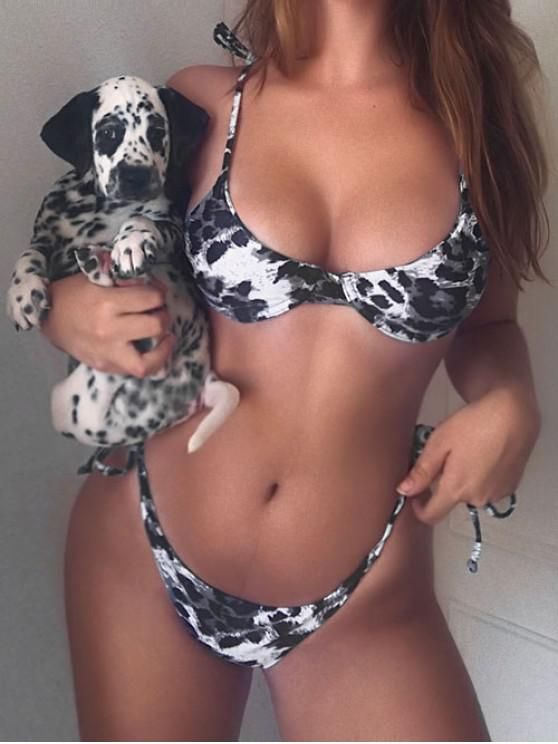 shop ZAFUL Leopard Tie Underwire Bikini Set - SLATE GRAY M