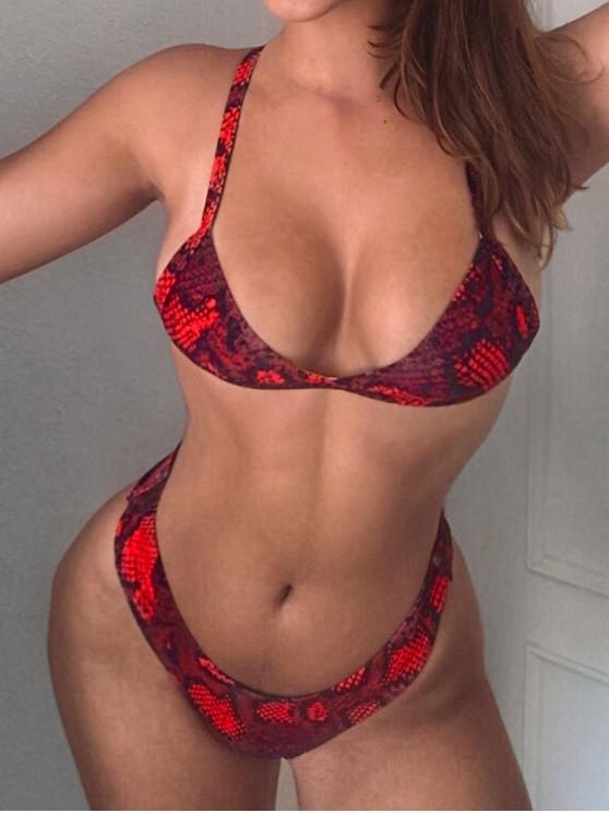 women ZAFUL Snakeskin Print Bikini Set - MULTI S