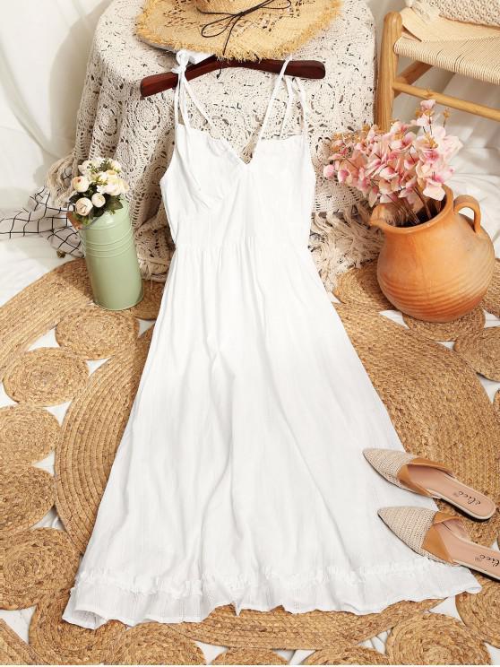 trendy Tie Shoulder Smocked Back Midi Dress - WHITE M