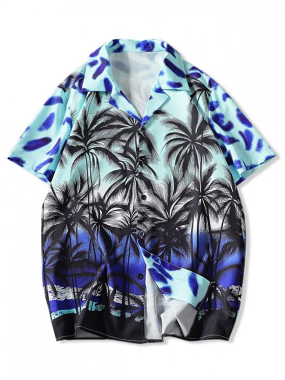 Coconut Tree Print Vacation Shirt - متعددة-A 3XL