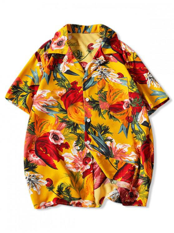 affordable Flower Print Pocket Patch Vacation Shirt - YELLOW L