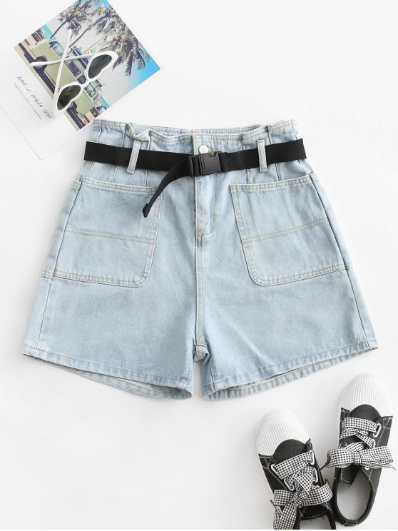 lady Buckle Belted Solid Denim Paperbag Shorts - LIGHT BLUE M