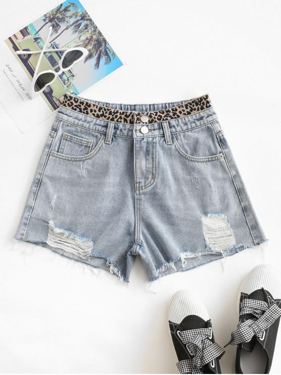 affordable Distressed Frayed Hem Leopard Cutoff Shorts - LIGHT BLUE M