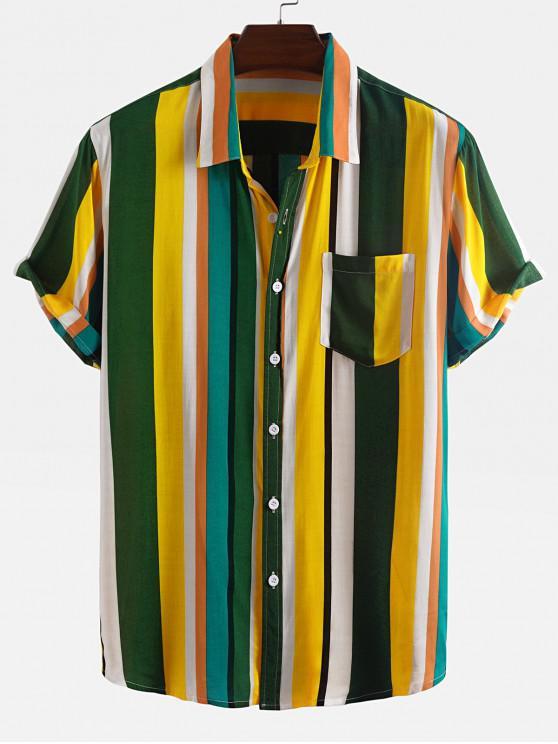 Camisa a Rayas con Bolsillos de Bloqueo de Color - Amarillo L