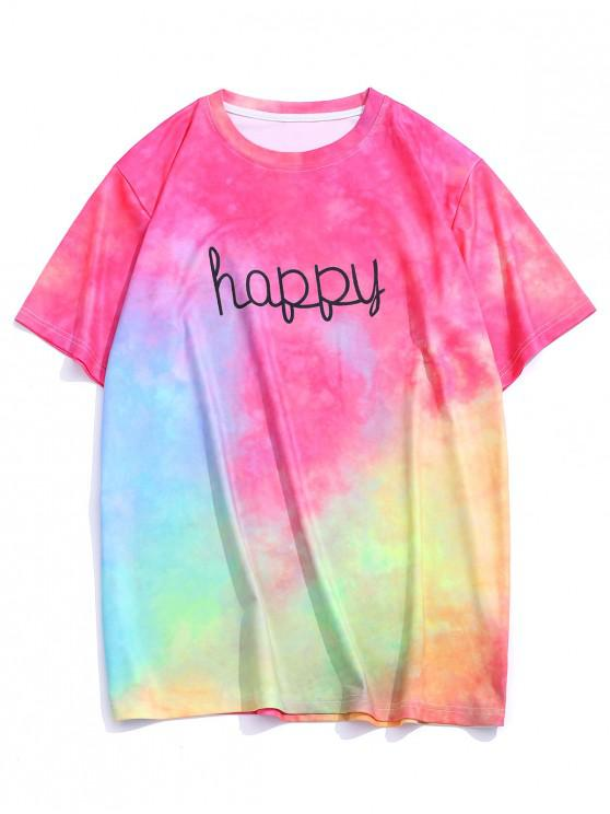 Tie Dye Happy Print Vacation T-shirt - وردة حمراء S