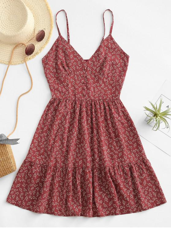 fancy ZAFUL Ditsy Floral Smocked Back Cami Mini Dress - DEEP RED M