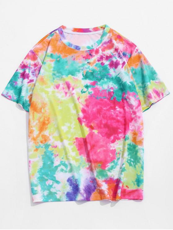 Tie Dye Print Vacation T-shirt - وردة حمراء S