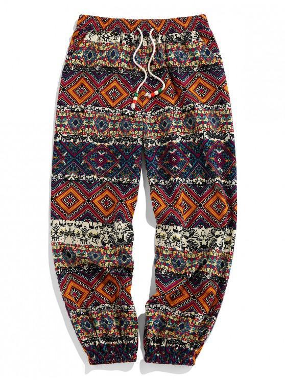 buy ZAFUL Tribal Geometric Print Elastic Waist Jogger Pants - DEEP YELLOW 2XL