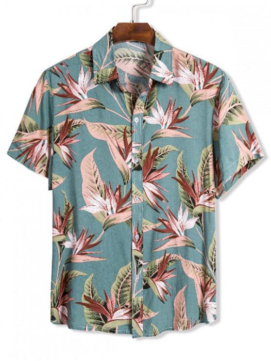 chic Flower Print Button Up Slim Hawaii Shirt - MULTI XL
