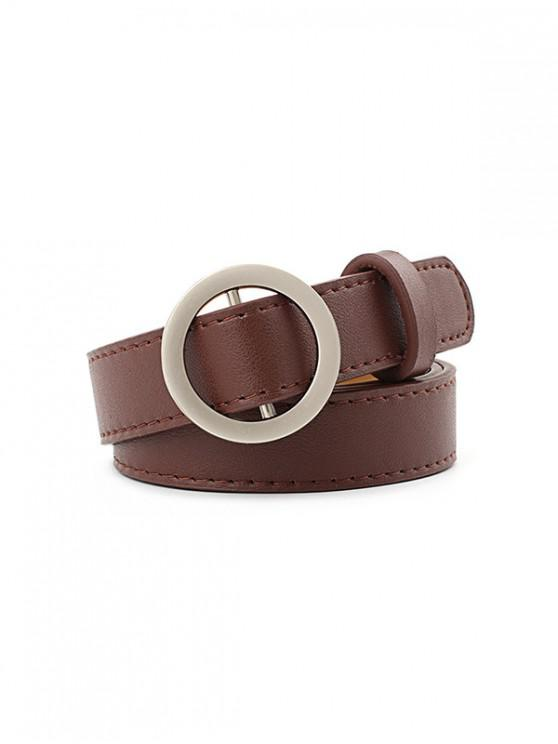 hot Brief Round Buckle Waist Belt - BROWN
