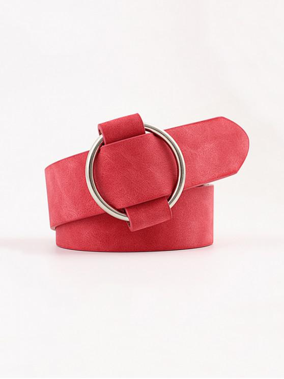 affordable Circle No Pin Buckle Belt - RED