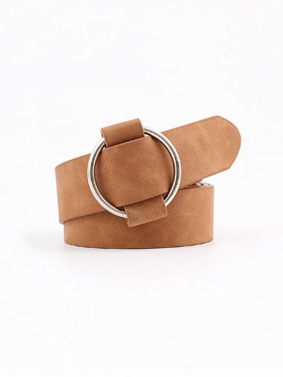 lady Circle No Pin Buckle Belt - LIGHT COFFEE