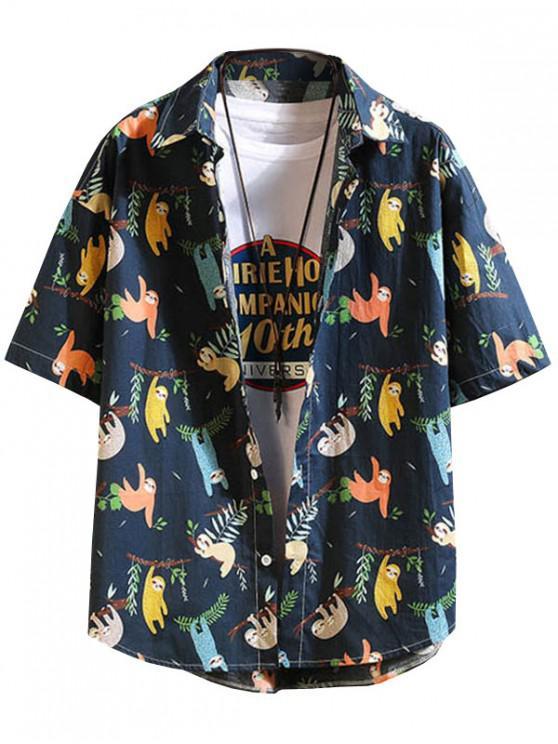 Camisa de Vacación con Estampado de Dibujo Animado - Cadetblue M