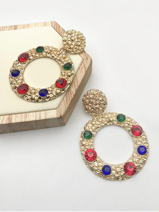 womens Retro Rhinestone Inlaid Circular Earrings - GOLDEN