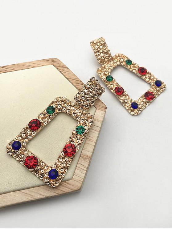 women Retro Alloy Rhinestone Geometric Stud Earrings - GOLDEN
