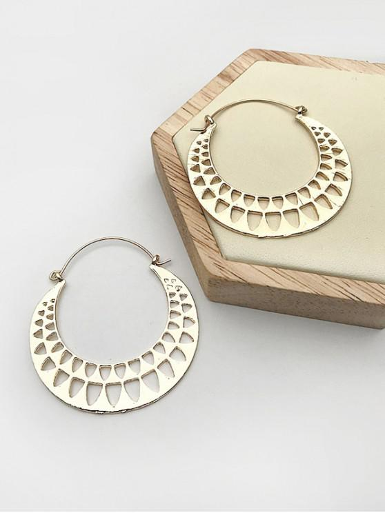 ladies Hollow Out Alloy Geometric Hoop Earrings - GOLDEN