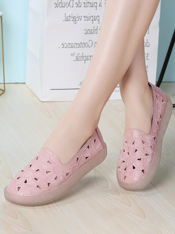 buy Floral Embroidery Hollow Out Flat Shoes - PINK EU 40