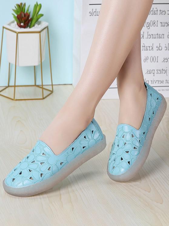 unique Floral Embroidery Hollow Out Flat Shoes - BLUE EU 38