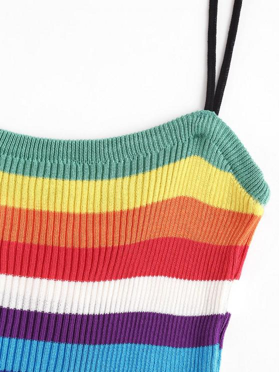 Knitted Rainbow Stripes Cami Top - Multi | ZAFUL
