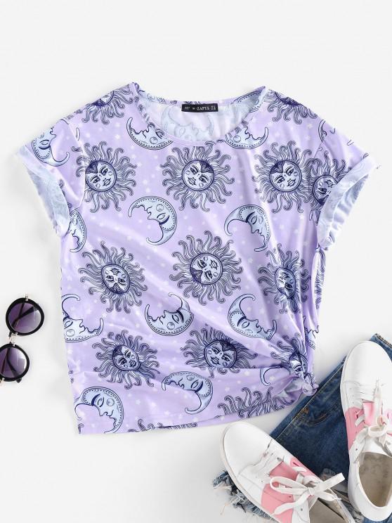 new ZAFUL Sun Moon Star Print Short Sleeve T-shirt - LIGHT PURPLE S
