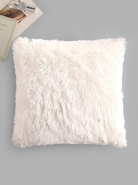 Square Plush Throw Pillowcase - Branco W18 x L18 polegadas
