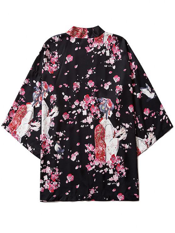 outfit Sakura Geisha Print Open Front Kimono Cardigan - BLACK XL