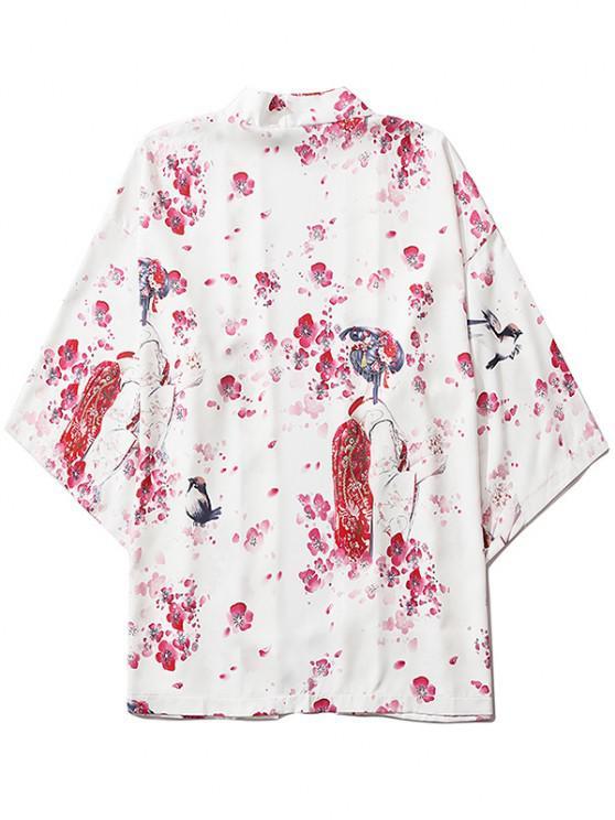 chic Sakura Geisha Print Open Front Kimono Cardigan - MILK WHITE 2XL
