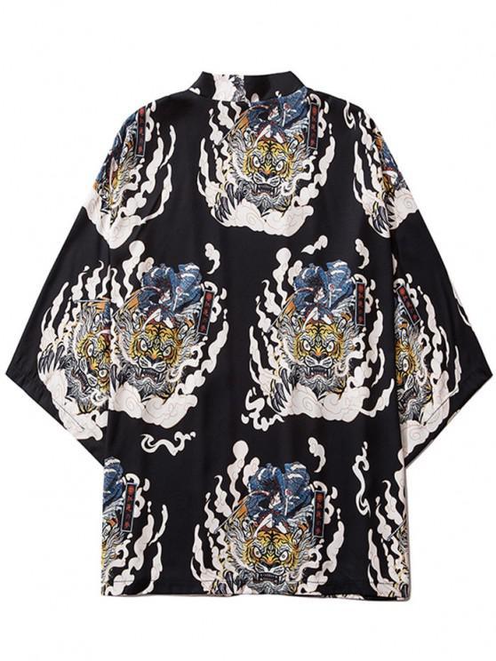 women Geisha Samurai Tiger Print Open Front Kimono Cardigan - BLACK M
