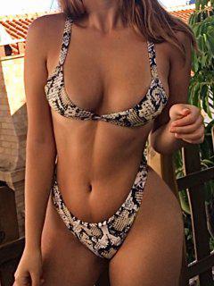 Bikini Con Stampa Effetto Serpente Di ZAFUL - Oro D'arancio S