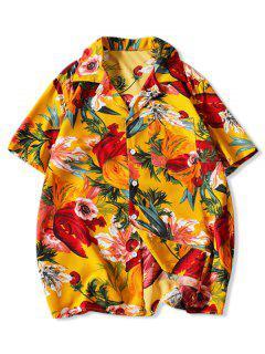 Chemise De Vacances Fleur Imprimée Avec Poche Jointive - Jaune 3xl