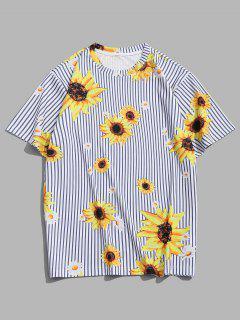 Sunflower Striped Pattern Vacation T-shirt - Goldenrod L