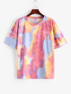 T-shirt Lettre Teinté Brodé à Goutte Epaule - Multi L